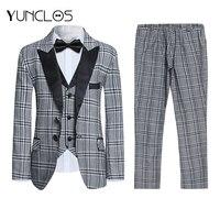 YUNCLOS Plaid Print Boys Suits For Weddings 3 PCS Suits Wedding Suits Kids Blazers Men Clothing Set Formal Boys Classic Costume