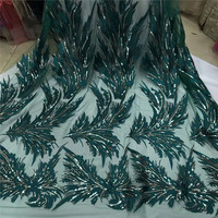 African lace fabric 2018 high quality lace aso ebi mesh fabric Embroidered Sequins nigerian lace fabric HJ923 2