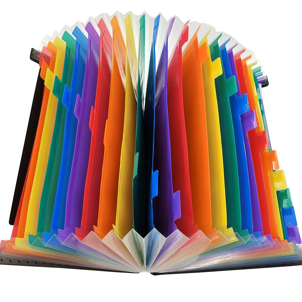 12 / 24 Layer Big Document Bag Rainbow Accordion A4 Classification Test Papers Tool Business Expanding File Folders Products