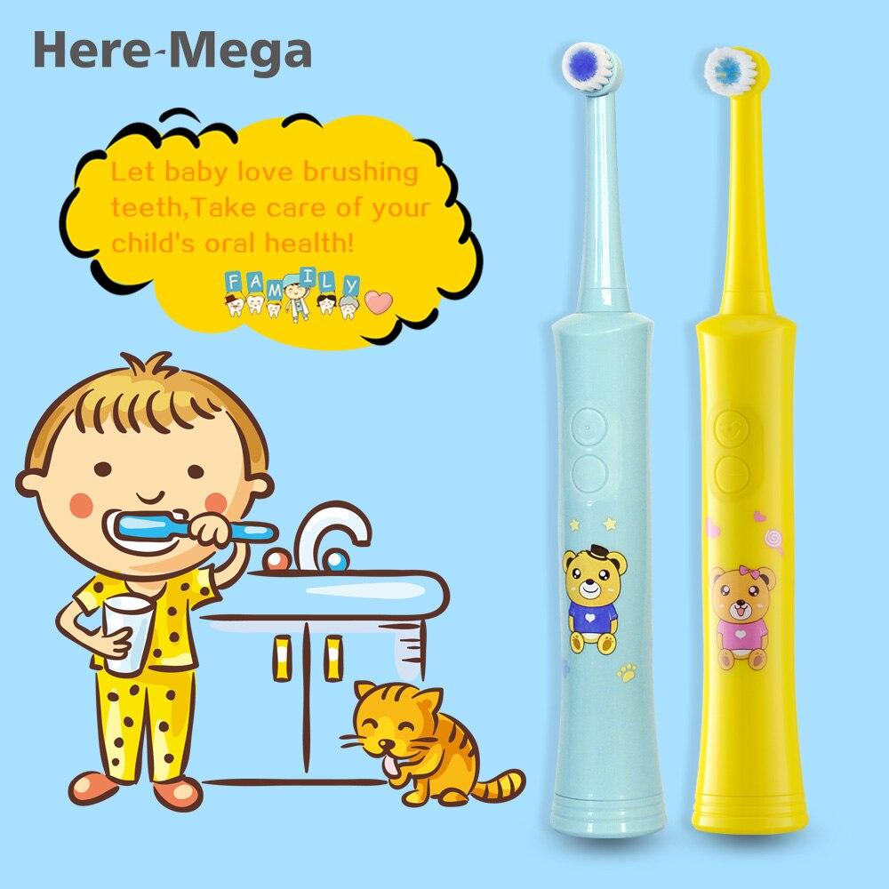 Aquí MEGA giratoria niños cepillo de dientes eléctrico recargable cuidado Dental de la higiene R01