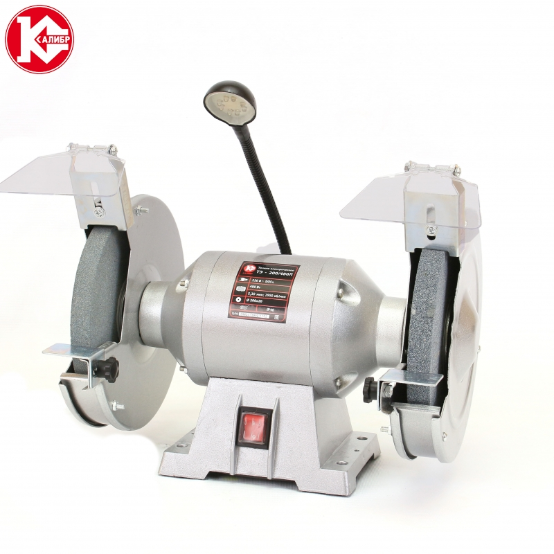 Electric bench grinder Kalibr TE-200/480L kalibr te 125 250l bench multi function electric grinder bench polishing machine small grinding wheel wiht lamp