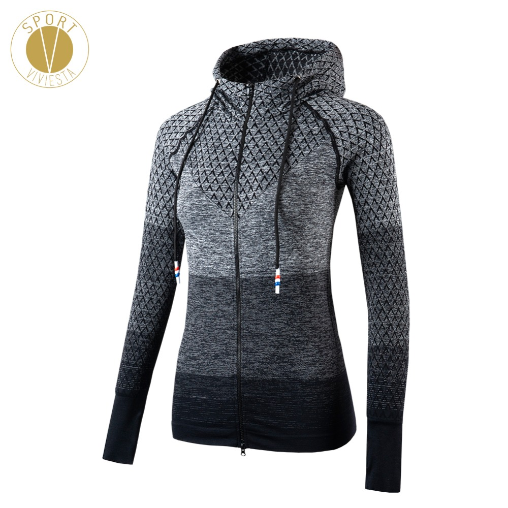 Gradient Zip Up Sports Jacket Women's Ladies Winter Yoga Running Active Outdoor Slim Fit Skimming Cut Elastic Soft Zip-Up Hoodie