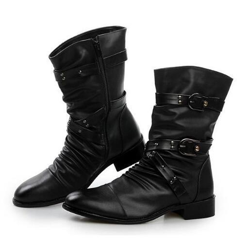 Martin Bottes No Bout Black Chaud Plush 03 D'hiver black Style Pointu With Mâle Véritable En Plush mollet Cuir Mi Hommes Moto Britannique De Rivet HOqrH0