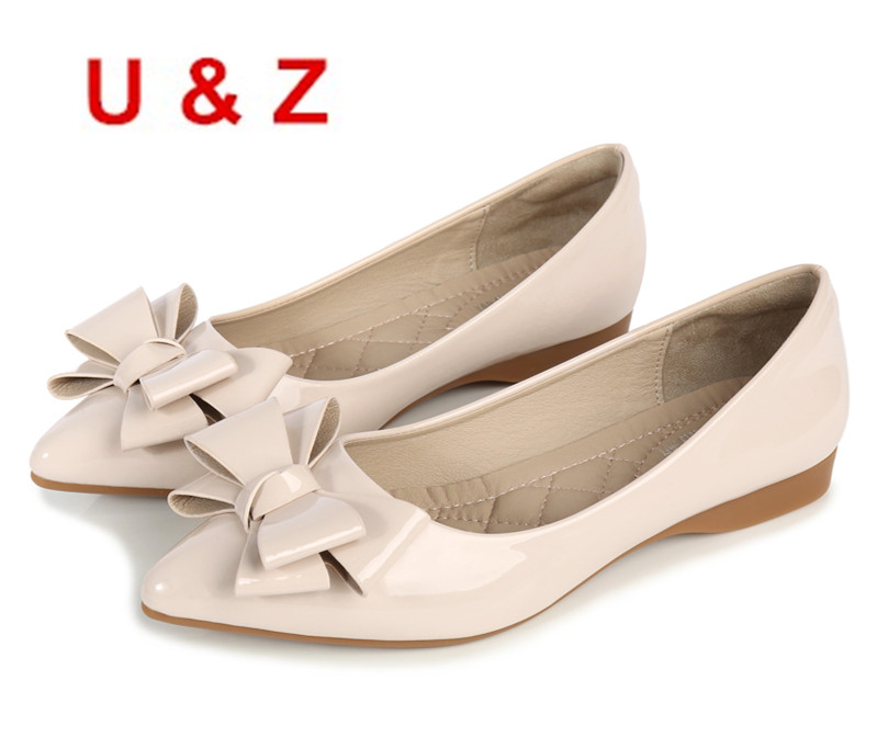 Plus small size 31-43 women Trend shoes air-cushioned insole,Red/Black/Beige patent leather bow flats pointed toe office shoes