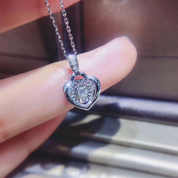 ANI 18K Solid White Gold Pendant Necklace SI Real Natural Diamond Fine Jewelry Women Engagement Necklace Heart Birthday Gift 4