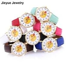 Cute Emoji BLow Kiss Watch Women Neutral Leather Quartz Wrist Watch ladies watches elogio feminino Creative Clock