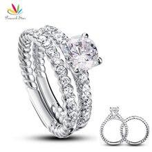 Павлин Star 1 карат, круглая огранка Серебро 925 пробы 2-Pcs Свадебные для годовщины помолвки кольцо комплект CFR8010