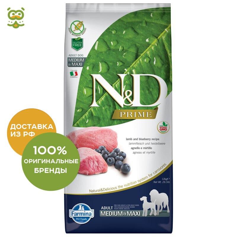 N&D Dog Lamb & Blueberry Adult корм для взрослых собак всех пород, Ягненок и черника, 12 кг.