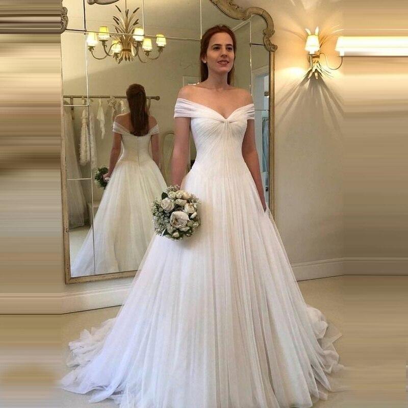 Off Shoulder Wedding Dress Simple Tulle Vestido De Noiva Robe De Mariage Dresses A Line White