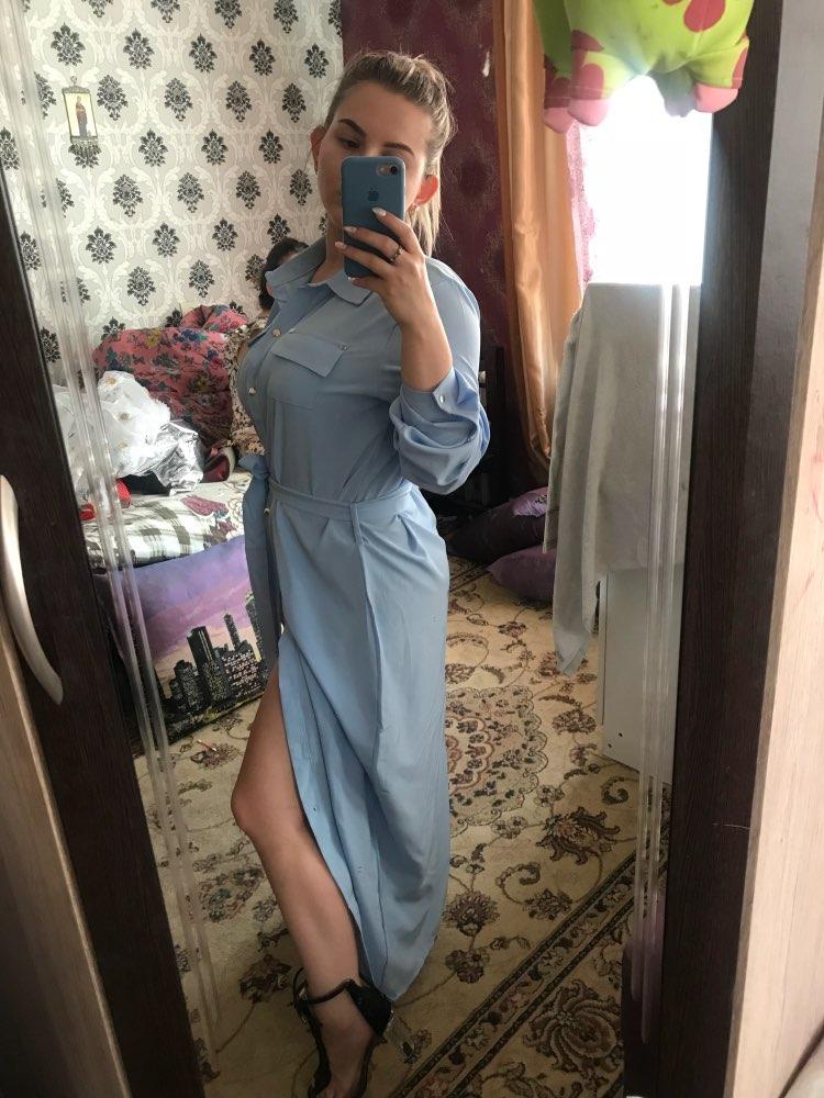 Casual Chiffon Dress Women 2018 Autumn New Arrivals Fashion Long Sleeve Button Shirt Dresses Ladies Long Dress With Belt Blue