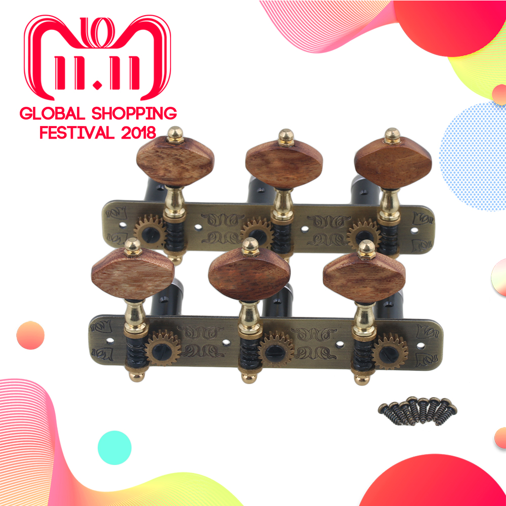 Yibuy 110x45x31mm Bronze Color Aluminum Alloy 3R3L Tuning Keys Classical Guitar Machine Heads Tuners Pack of 2 цена