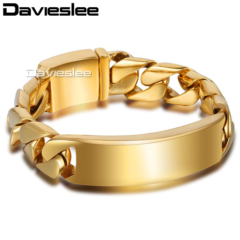 16mm Mens Chain Boy Smooth Round Curb Link Silver Gold Tone 316L Stainless Steel ID Bracelet HEAVY Wholesale Gift Jewelry LHB336 25mm mens chain boys big curb link gunmetal tone 316l stainless steel bracelet charm bracelets for women