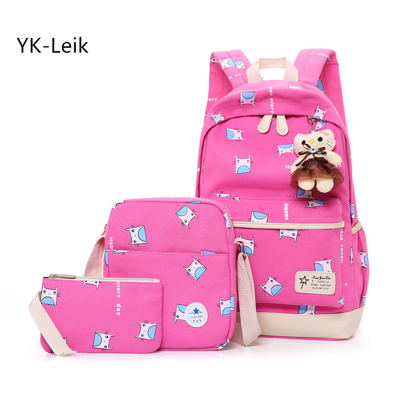 3 pieces sets backpacks casual cartoon backpack for women Fashion printing Children school bags for teenagers