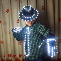 LED Costume Clothes LED luminous jazz Hat With Llight Tie LED gloves LED Suit For Michael jacket Cosplay Costume