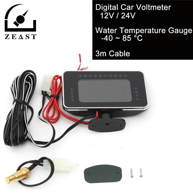 Thermometer Voltmeter 12 V/24 V für Auto Motor LCD Digitale ...