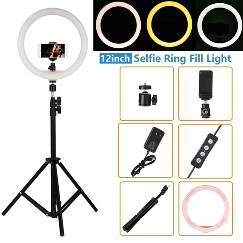 """Tycipy 12"""" LED Ring Light 2700K-5500K 24W Photography Dimmable Video Photo Studio Light for Smartphone with Tripod Phone Holder"""