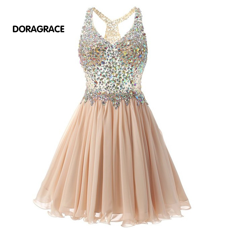 Doragrace New Fashion Crystal Short Cocktail Dresses Chiffon V Neck Side Zipper Party Dress