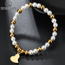 HOBBORN Casual Simulated-pearl Beaded Bracelets Women Stainless Steel Beads Heart Charm Bracelet Friendship Bangles Jewelry Gift