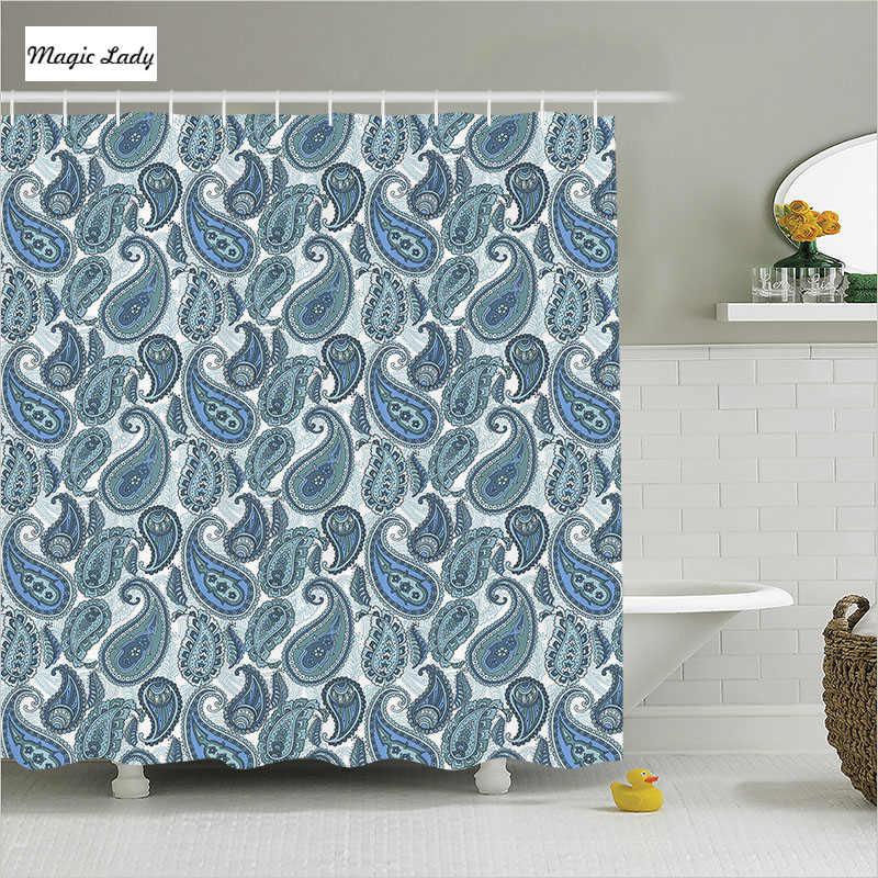 Shower Curtain Designs Bathroom Accessories Asian Indian Retro Pattern Paisley Modern Abstract Blue Home Decor 180200 Cm In Curtains From