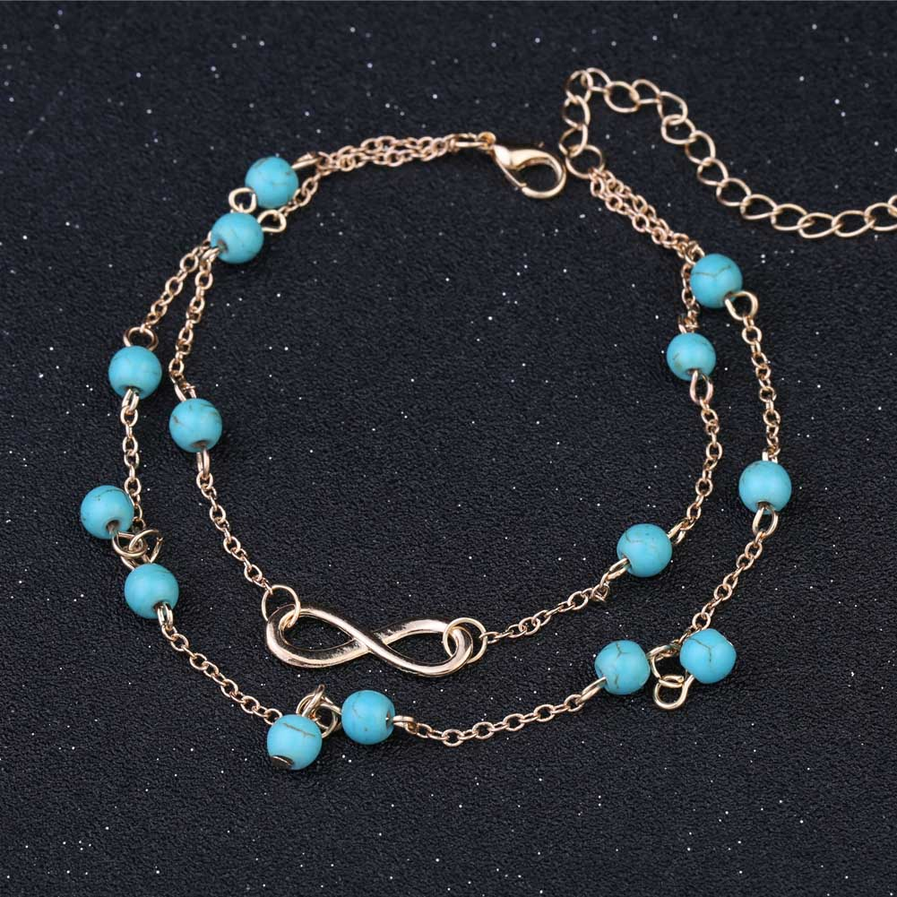 Summer New Small Fresh Jewelry Lady Anklet 8 Word Double Layer Beads Anklet Selling Hot Legs Jewelry