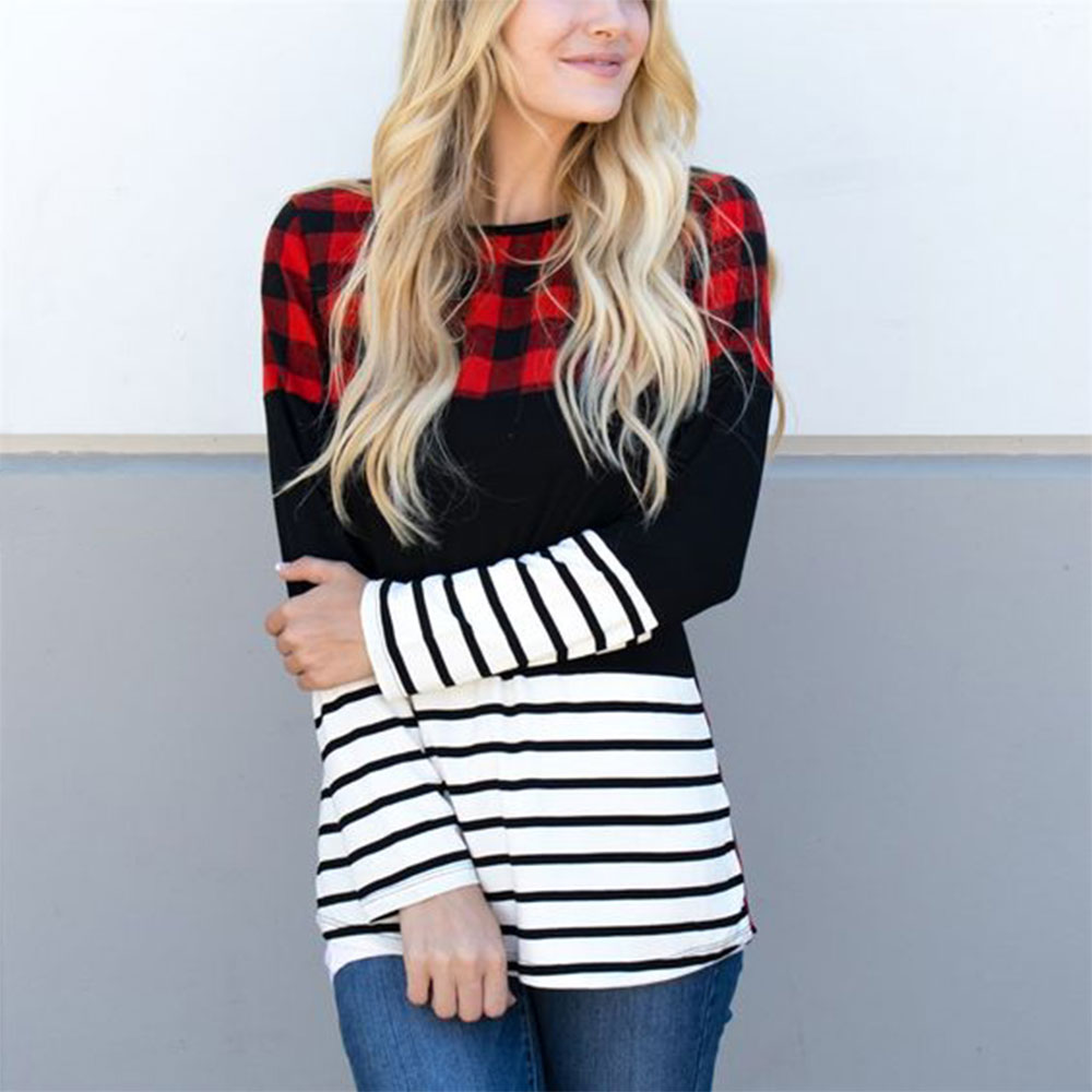 Autumn Winter Fashion Women Blouse and Tops Plaid Splicing Striped Long Sleeve Ladies Tops Blouse Casual Loose Female Tops 1