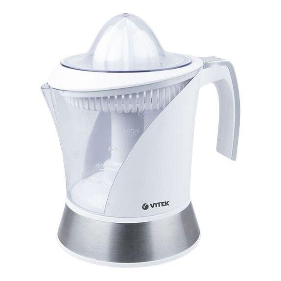 Соковыжималка электрическая Vitek VT-3654 W (Мощность 40 Вт, для цитрусовых, резервуар для сока 1000 мл, 2 насадки)