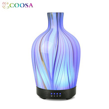 COOSA 3D Glass LED Light Essential Oil Diffuser 100ml Ultrasonic Air Humidifier Aroma 7 Color Change Mist