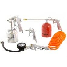 Набор пневмоинструмента MATRIX 57302 (5 предметов: Пистолет для вязких жидкостей, Краскопульт, Пистолет продувочный, Пистолет для накачки шин, Шланг 5 метров)