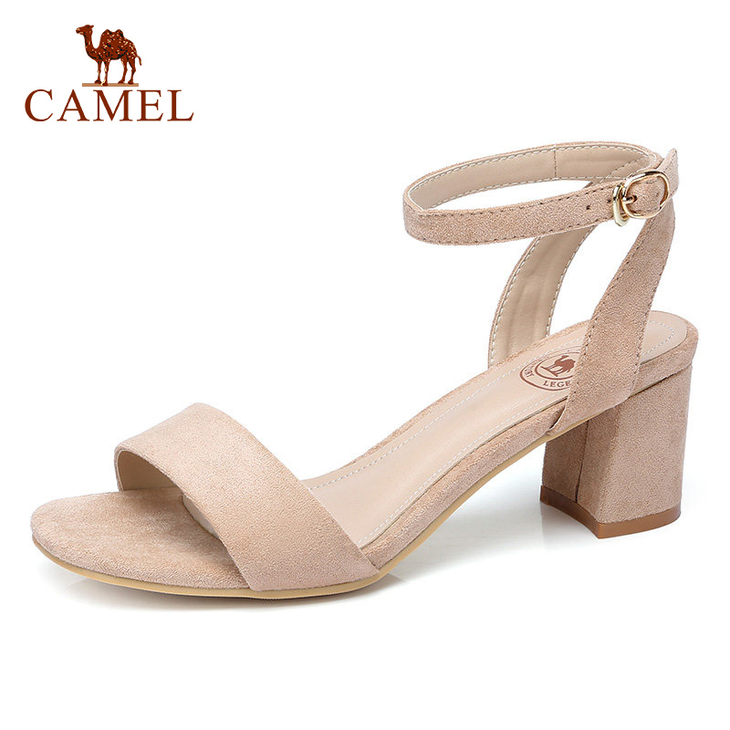 CAMEL Woman New High Heel Sandals Women Buckle Flock Expose Toe Fashion Elegant Dress Shoes For