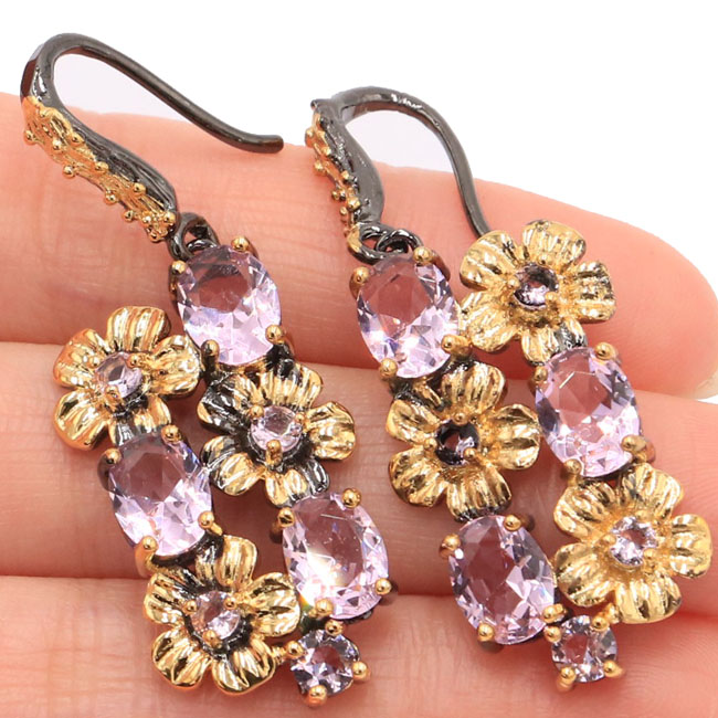 Sublime Antique Vintage Pink Kunzite Flower Woman's Gift Black Gold Silver Earrings 45x17mm
