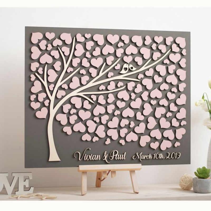 新しいピンクゲストブック木パーソナルゲストブックウェディングパーティー装飾代替ゲストブック木製心