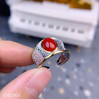 KJJEAXCMY boutique jewelry 925 sterling silver inlaid natural gemstone red coral female ring support detection