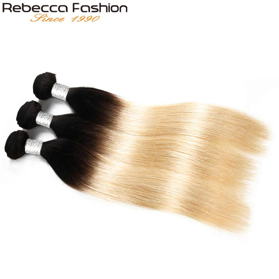 Rebecca Ombre Blonde Hair 100% Remy человеческие волосы для наращивания перуанские прямые волосы пучки от 10 до 30 дюймов 1 шт. 1b/613 Бесплатная доставка