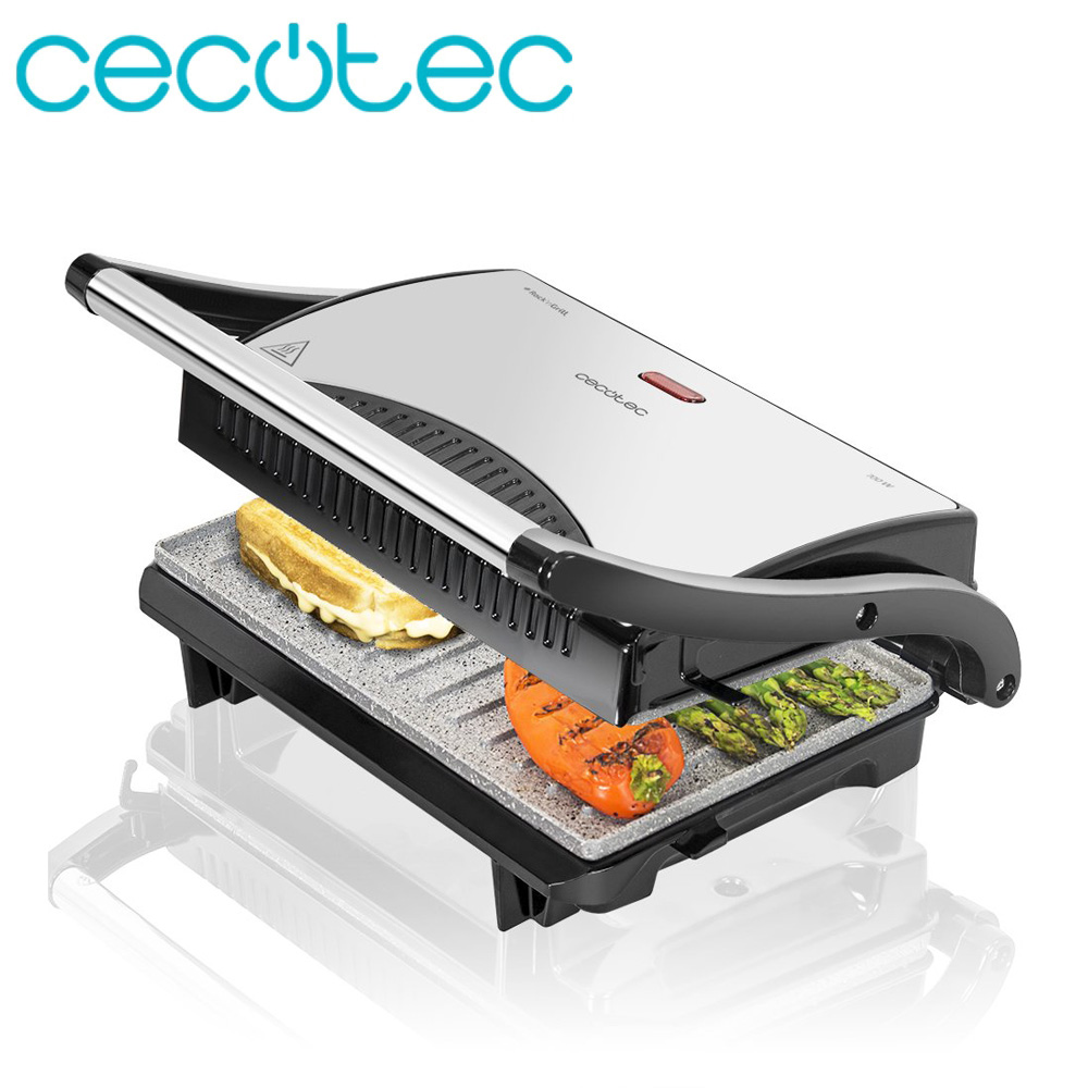 Cecotec Panini Grill RocknGrill 700 Grille Electric Ceramic Stone Sandwich Maker Multiple Functions