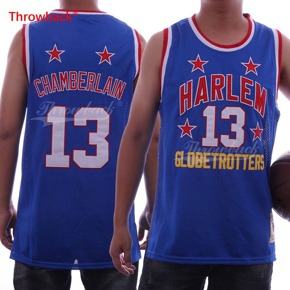 Throwback Men's Harlem globetrotters Stitched 13 Wilt Chamberlain Jersey Blue Stitched Basketball Jersey Cheap купить в Москве 2019