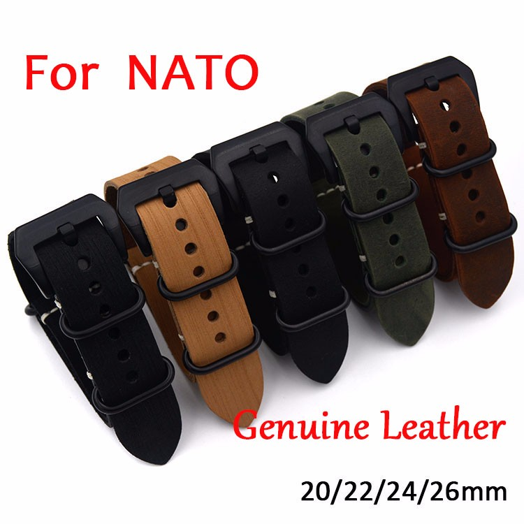 1PCS High quality 20mm 22mm 24mm 26mm Bracelet Straps Genuine Leather Watch band For NATO Strap Watchband tjp 1pcs 18mm 20mm 22mm 24mm 26mm green khaki black brown genuine crazy horse leather bracelet nato watch strap bands
