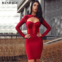 LEGER BABE Wine Red Women Bandage Dress Bodycon Sexy Cut Out High Neck Long Sleeve Party Bandage Mini Dress High Quality