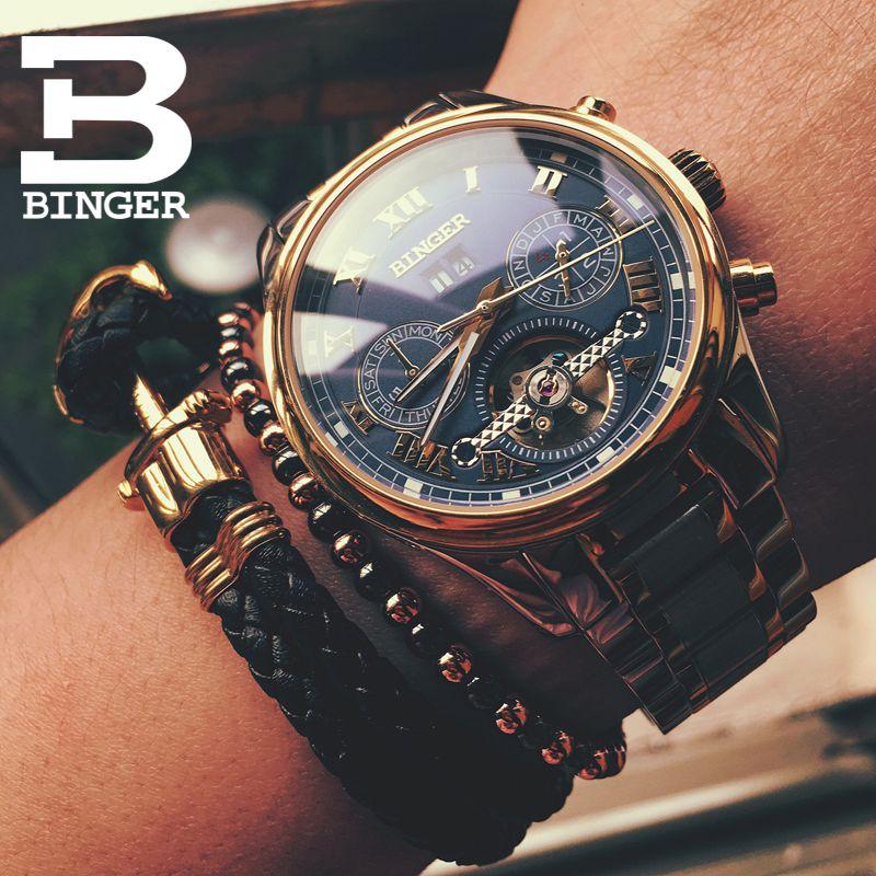 BINGER Men Watches Automatic Mechanical Watch Steel Strap Business Multifunction Wristwatches 30 m Waterproof relogio masculino