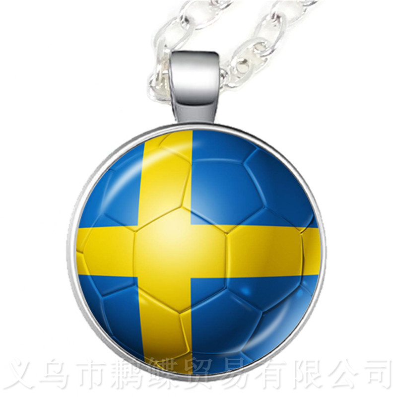 2018 World Cup Necklace SaudiArabia,Senegal,Serbia,Switzerland,Sweden,Portugal,Nigeria,Japan Nation Flag Football Sweater chain