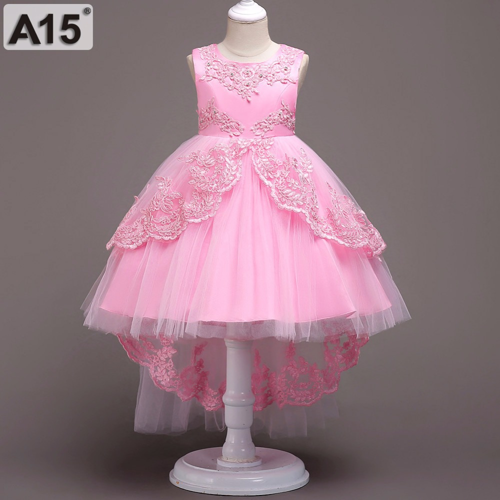 A15 Summer Children Dresses for Girls Kids Formal Wear Princess Dress for Girl 4 6 8 10 12 Year Birthday Party Events Prom Dress