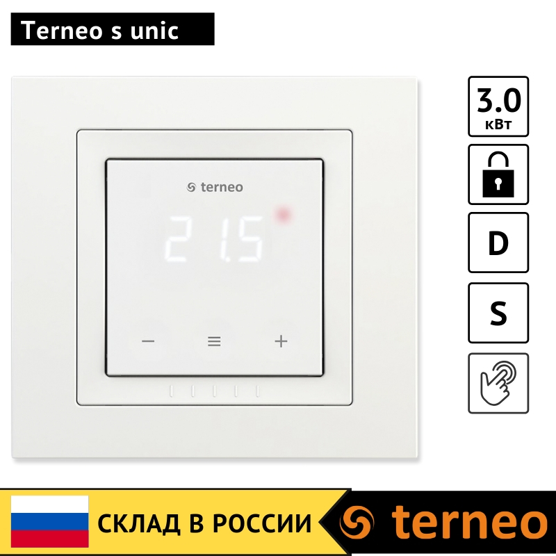 Terneo S Unic-touch Electric Thermostat For Underfloor Heating And Temperature Sensor For Infrared Film, Cable Floor Controller