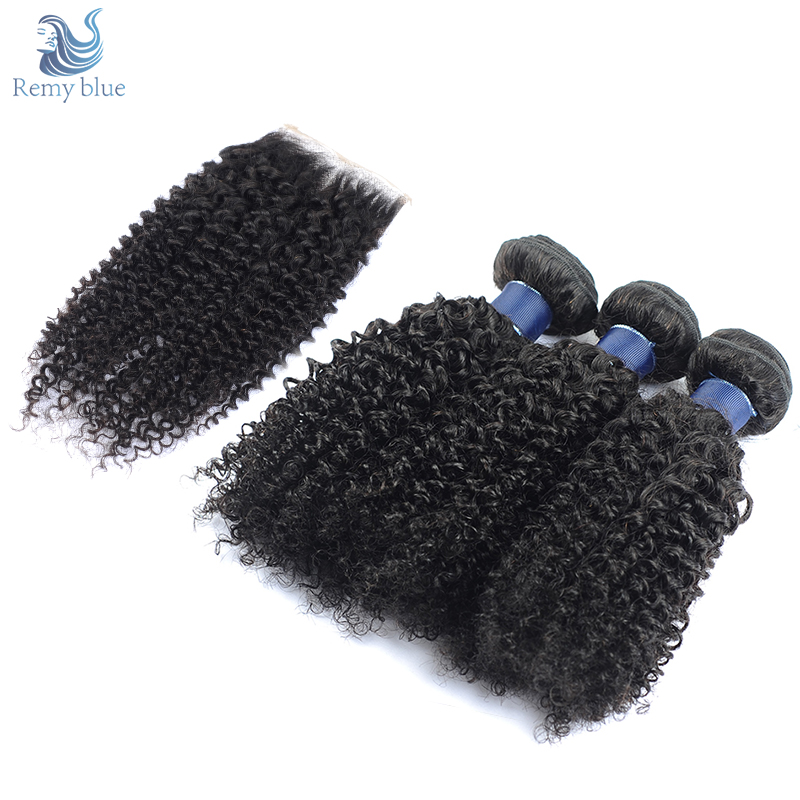 Remy Blue Brazilian Afro Kinky Curly Hair 3 Bundles With Closure Human Hair Bundles With Closure Natural Color Remy Hair Weave