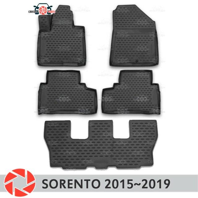 Коврики для Kia Sorento 2015 ~ 2019 Нескользящие полиуретановые грязеотталкивающие салонные аксессуары для стайлинга автомобилей