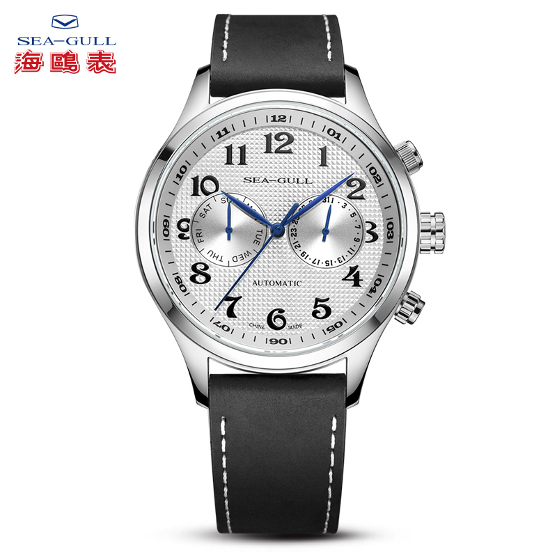 SEA-GULL Business Watches Mens Mechanical Wristwatches Week Calendar 50m Waterproof Leather Valentine Gifts Male Watches 6063SEA-GULL Business Watches Mens Mechanical Wristwatches Week Calendar 50m Waterproof Leather Valentine Gifts Male Watches 6063