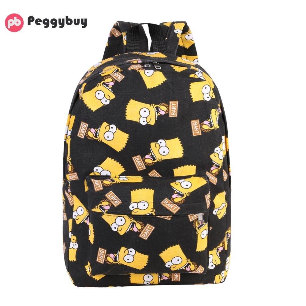 Backpacks Canvas Mochila Travel-Shoulder-Bag Printing Simpsons Teenage-Girls Women's