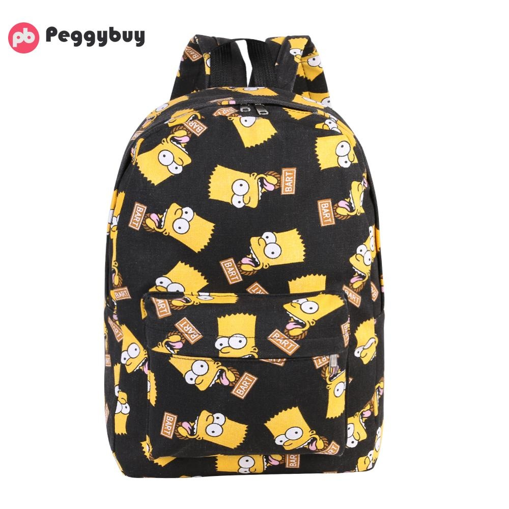 Cartoon Printing Women's <font><b>Backpacks</b></font> Canvas <font><b>School</b></font> Bags <font><b>For</b></font> <font><b>Teenage</b></font> Girls Travel Shoulder Bag mochila feminina Bolsas image