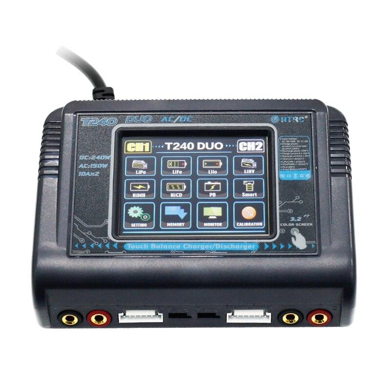 HTRC T240 DUO AC 150 W DC 240 W 10A écran tactile Double Canal Batterie chargeur de balance Déchargeurs Pour RC Modèles Jouets