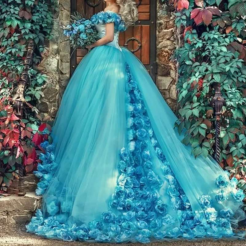 Blue Ball Gown Quinceanera Dresses Handmade Flowers Off the shoulder Court Train Tulle Prom sweet 16 Dress Custom Made Dress-in Quinceanera Dresses from Weddings & Events    3