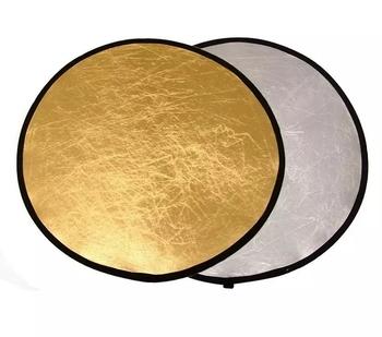 2 w 1 złoty srebrny 24 #8222 60cm uchwyt Multi składany przenośny dysk odbłyśnik do fotografii tanie i dobre opinie ROUND 60CM 2 IN 1 0 2KG NiYi