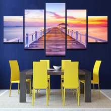 Canvas Home Decor Wall Art Framework 5 Pieces Sunrise Wooden Bridge Sunset Lake Posters Living Room HD Prints Seascape Pictures